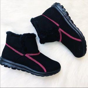 SKECHERS   Go Walk faux fur trim booties - Black